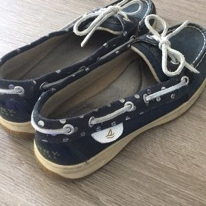 Navy and Silver Polka Dot Sperrys